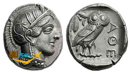تصویر جغد، سمبل آتن بر روی سکه ی باستانی آتنی