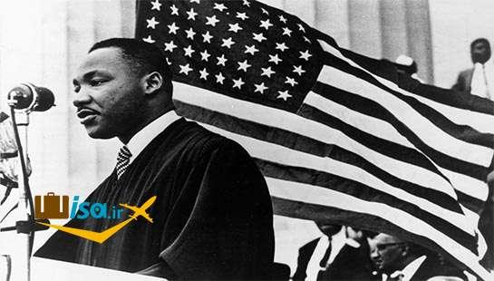 مارتین لوتر کینگ در حال سخنرانی «رویایی دارم» در واشنگتن، ۱۹۶۳
